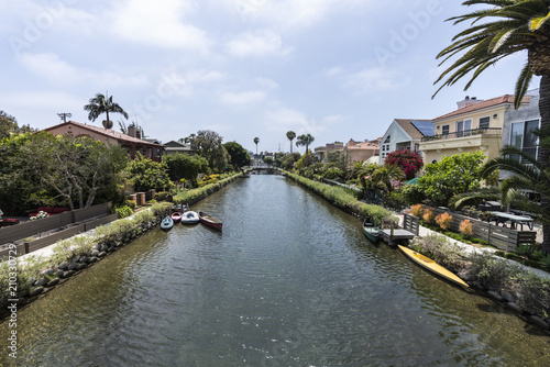 Historic Venice canal neighborhood in Los Angeles California.