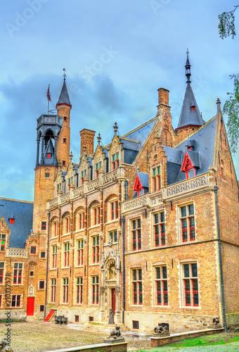Foto Spatwand Brugge Historical buildings in Bruges, Belgium