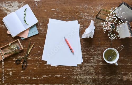 Fototapeta creativity and inspiration desktop ready for crafting