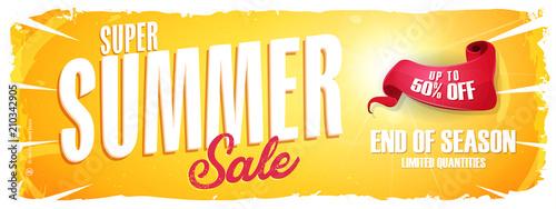 Letnia Wyprzedaż Ekstra Szeroki Sztandar / Ilustracja szeroki baner szablon lato sprzedaż z colorul elementów, typografii i grunge ramki