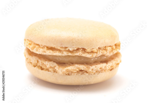 Foto Spatwand Macarons Single Vanilla French Macarons on a White Background