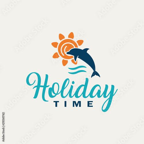 Fototapeta Dolphin logo- Summer holidays.