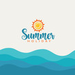 Summer vacation banner with sea waves.