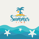 Summertime vector illustration with tropical island.