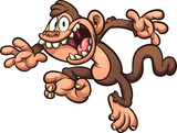 Screaming and jumping cartoon monkey. Vector clip art illustration with simple gradients. All in a single layer.  - 210363378