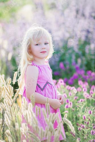 Leinwanddruck Bild Hübsches süßes Mädchen in einem Lavendelfeld