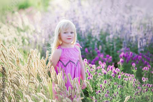 Leinwanddruck Bild Junges schönes Mädchen auf dem Lavendelgebiet