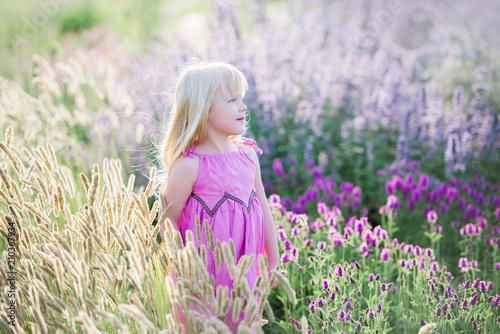 Leinwanddruck Bild Glückliches kleines Mädchen auf einem Gebiet des Lavendels, Sommer