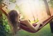 Leinwanddruck Bild - Sleeping on the hammock