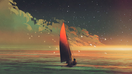 sailboat in the sea with the evening sunlight, digital art style, illustration painting © grandfailure
