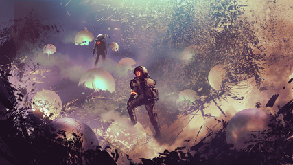 astronauts found mysterious glowing balls, digital art style, illustration painting