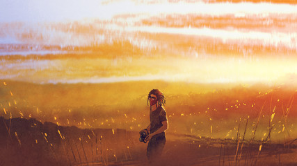 young traveler with a camera standing against sunset over mountains, digital art style, illustration painting