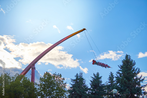 Fotobehang Amusementspark attraction rocket on the wire.