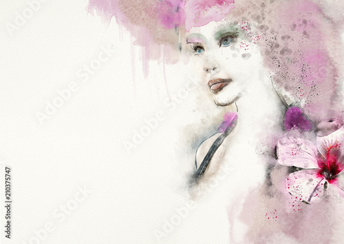 roseate-watercolor-abstract-portrait-of-woman-fashion-background