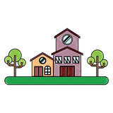 Landscape with modern house and street over white background, colorful design. vector illustration - 210378163