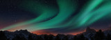A beautiful green aurora dancing over the hills, panorama view.