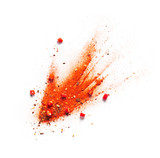 Red chili pepper, powder and flakes burst - 210390705