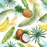 Watercolor vector seamless pattern of coconut, banana, pineapple and palm trees isolated on white background. - 210395511