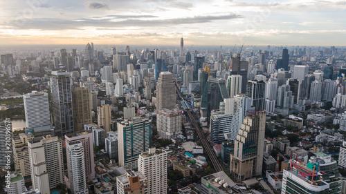 Plexiglas Bangkok Bangkok / Thailand - 9 2 2017: Aerial view of Sukhumvit district of Bangkok