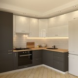 White-grey kitchen contemporary style, 3d images - 210398105