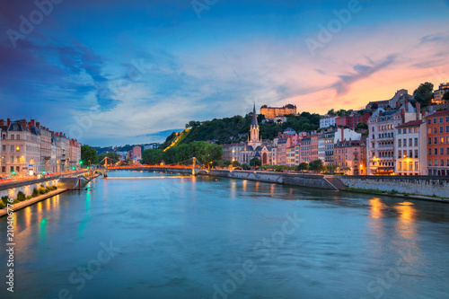Fototapeta Lyon. Cityscape image of Lyon, France during sunset.