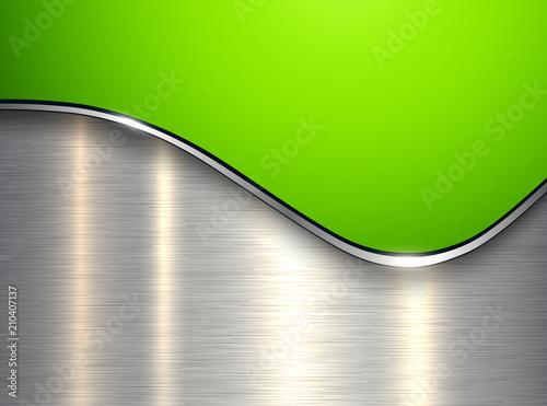 Zielony metaliczny tło, elegancki z fali i szczotkowanego metalu tekstury