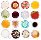 Drinks variety, top view, isolated on white background - 210412305