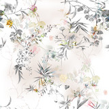 Watercolor painting of leaf and flowers, seamless pattern on white background - 210412328