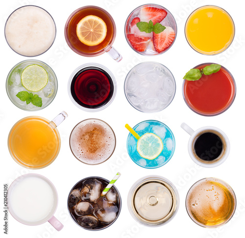 Fototapeta Drinks variety, top view, isolated on white background