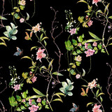 Watercolor painting of leaf and flowers, seamless pattern on dark background - 210413952