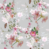 Watercolor painting of leaf and flowers, seamless pattern on gray background - 210413982