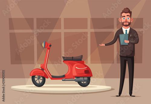 Plexiglas Auto Happy cute colsuntant or salesman. Vector cartoon illustration
