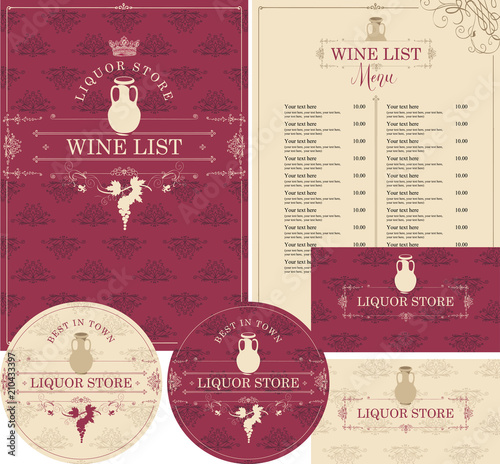 Vector set of design elements for liquor store in baroque style with vector set of design elements for liquor store in baroque style with jug of wine grapes and crown menu cover price list stands for drinks and business colourmoves