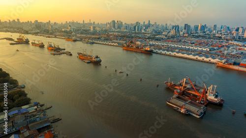 Plexiglas Bangkok aerial view of klong toey port and chaopraya river in bangkok thailand