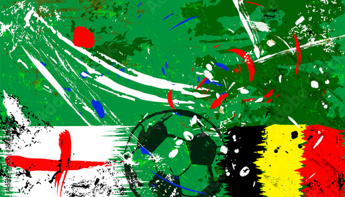Aluminium Abstract met Penseelstreken england vs belgium socce / football illustration, with paint strokes and splashes, grungy vector