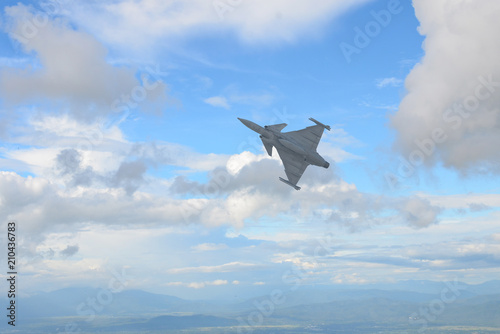 Plexiglas Bangkok Gripen aircraft over the horizon.