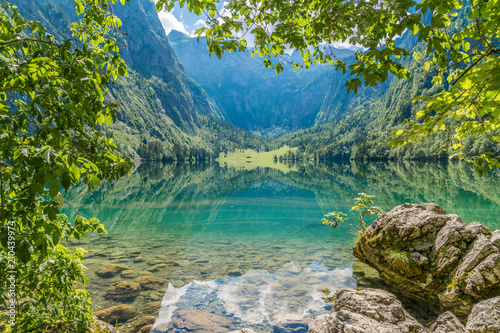 Blick auf den Obersee beim Königssee in Berchtesgaden