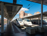 Modern high speed train on railway station in Madrid