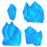 Set of colorful crystals isolated on white background. Vector illustration. - 210451980