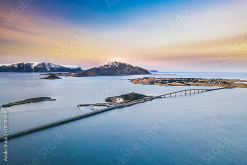 Amazing evening panorama in Norway.