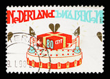 Birthday cake with present, Greetings Stamps serie, circa 1997