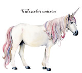 Watercolor white unicorn. Hand painted magic horse isolated on white background. Fairytale character illustration design, fabric, card, print or background. - 210459782