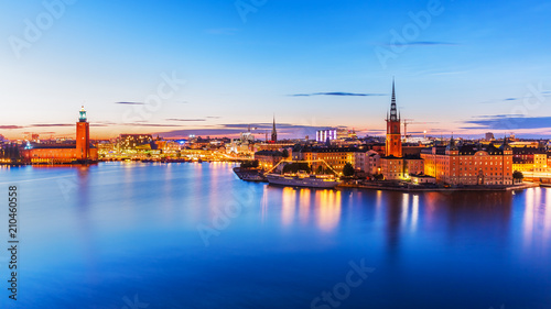 Foto Spatwand Stockholm Evening panorama of Stockholm, Sweden