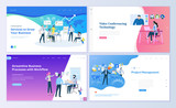 Set of web page design templates for project management, business communication, workflow and consulting. Modern vector illustration concepts for website and mobile website development.  - 210461725