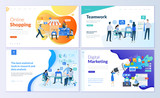 Set of web page design templates for online shopping, digital marketing, teamwork, business strategy and analytics. Modern vector illustration concepts for website and mobile website development.  - 210461952