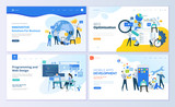 Set of web page design templates for SEO, mobile apps, business solutions. Modern vector illustration concepts for website and mobile website development. Easy to edit and customize.