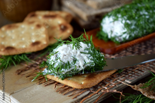 Fototapeta Canape made of crackers with forshmak. Cold snack