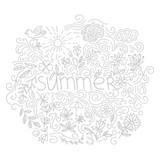 Summer postcard. Doodle summer card with floral elements, flowers, sun, curly lines. Vector illustration. - 210469900