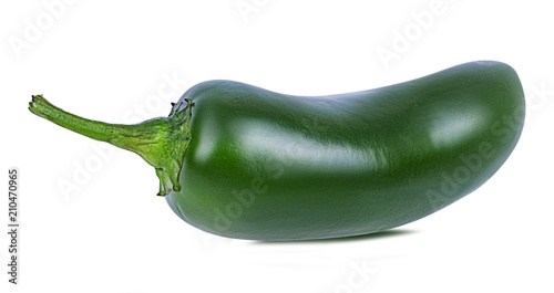 Fotobehang Hot chili peppers Fresh hot green chili pepper isolated on white background with clipping path
