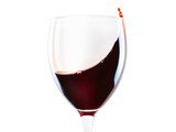 Red wine glass with splash isolated - 210475161